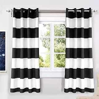 DriftAway Mia Stripe Room Darkening Grommet Unlined Window Curtains 2 Panels Each 52 Inch by 63 Inch Black