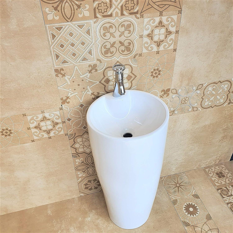 Buy Inart Ceramic One Piece Pedestal Sink Bathroom Sink Wash Basin Free Standing Size 15 X 15 Inch Round White Online In Indonesia B082hk1xn3