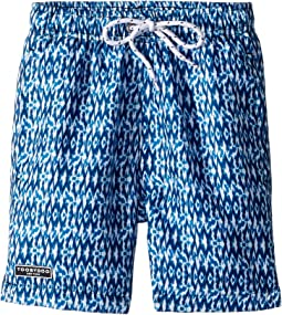 Toobydoo Multi Aqua Blue Patterned Swim Shorts (Infant/Toddler/Little Kids/Big Kids)
