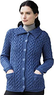 Aran Crafts Button Knitted Cardigan (100% Merino Wool)
