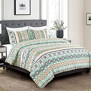 3 Piece Southwestern Bedding Native American Print Comforter Set Multicolor Light Teal/Mint Green White King Size Comforte...