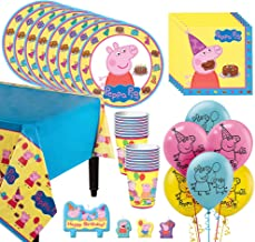 Party City Peppa Pig Tableware Kit for 16 Guests, 59 Pieces, Includes Plates, Napkins, Cups, Candles, and Balloons