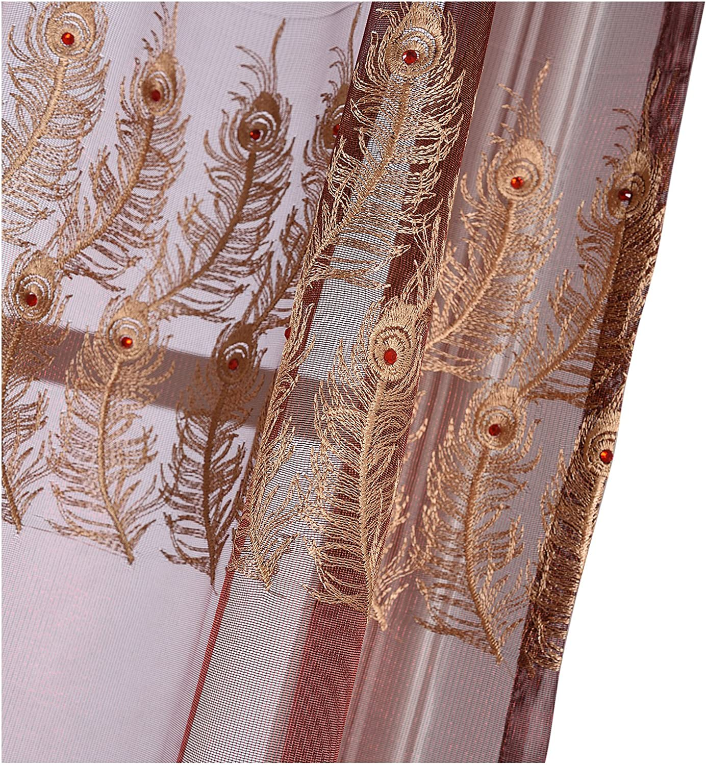 Sheer Window Curtains Regular store Feather Print Pocket Panels Top Las Vegas Mall Voile Rod