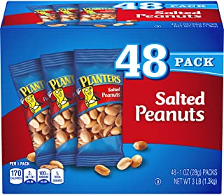 PLANTERS Salted Peanuts, 1 oz. Bags (48 Pack) | Snack Size Peanuts with Sea Salt &..