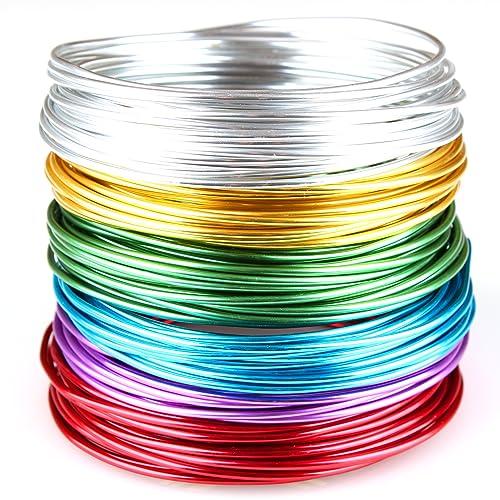 60m Schmuckdraht Set 2mm 10 Farben je 6m Basteldraht Aludraht Draht 0,42€//m