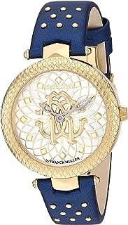 ROBERTO CAVALLI Women's RC-46 Stainless Steel Swiss Quartz Watch with Leather Calfskin Strap, Blue, 15.5 (Model: RV1L052L0026)