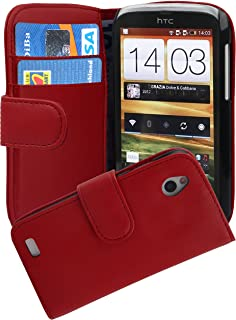 Cadorabo Book Case works with HTC DESIRE X in CANDY APPLE RED - with Stand Function and Card Slot made of Smooth Faux Leat...