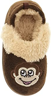 Scuffs Slippers Little Boys Brown Monkey Aline Hard Sole & Plush Inner Slippers