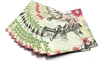 Alice in Wonderland Party Supplies - Huge 40 Napkins Pack - Vintage Floral Design - Perfect for Mad Hatter Tea Party, Birt...