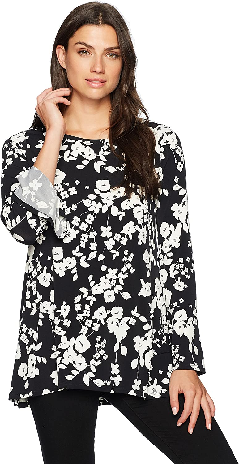 Chaus Womens Bell SLV Stone Floral Top Shirt