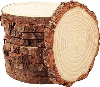 Kurtzy Disques de Bois Brut Naturel (10 Pcs) - Tranche de Bois Diamètre 10-11 cm Épaisseur 10 mm, Rondin de Bois Non Fini ...