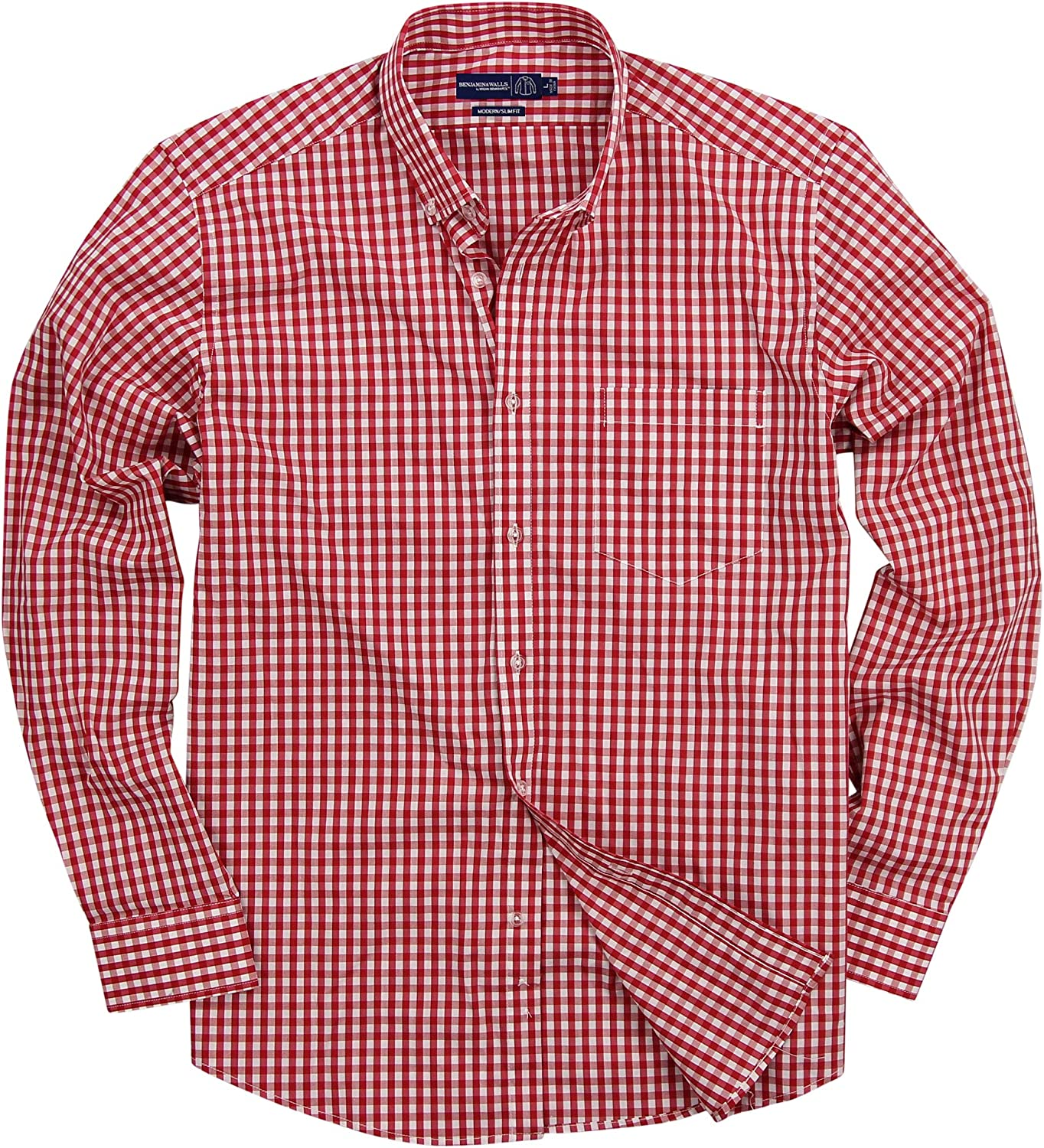Men's Stretch Fit Gingham Plaid Long Sleeve Max 68% OFF Button Ranking TOP10 Shirt Down