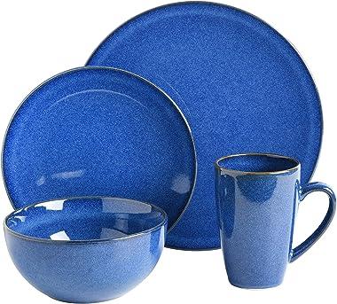 Gibson Elite Lisbon Round Reactive Glaze Stoneware Dinnerware Sets, Service for 4 (16pcs), Cobalt Blue