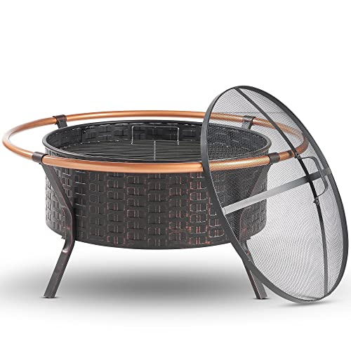 VonHaus Copper Rim Fire Pit Bowl with BBQ Grill Rack, Spark Guard & Poker – Outdoor Steel Garden Heater/Burner for Wood & Charcoal