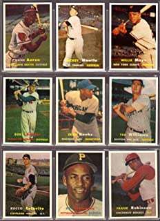 1957 Topps Baseball Reprint (9) Card Lot #7 (Mickey Mantle) (Willie Mays) (Hank Aaron) (Duke Snider) (Ernie Banks) (Ted Williams) (Rocco Colavito) (Roberto Clemente) (Frank Robinson RC)