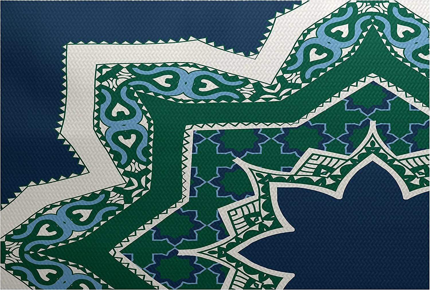 E by design RGN729BL44-35 Rising Star, Geometric Print Indoor Outdoor Rug, 3 x 5', bluee