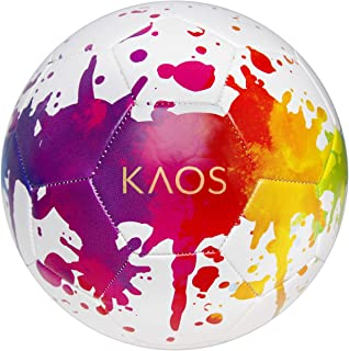 KAOS Training Recreation Soccer Ball, White w Multi-Color...