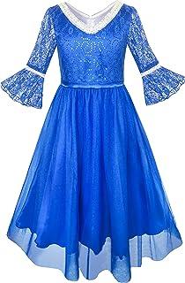 こどもドレス 女の子ドレス 結婚式 入園式 レース シークイン Vネックライン 105/110/115/125/130/140/150/160cm