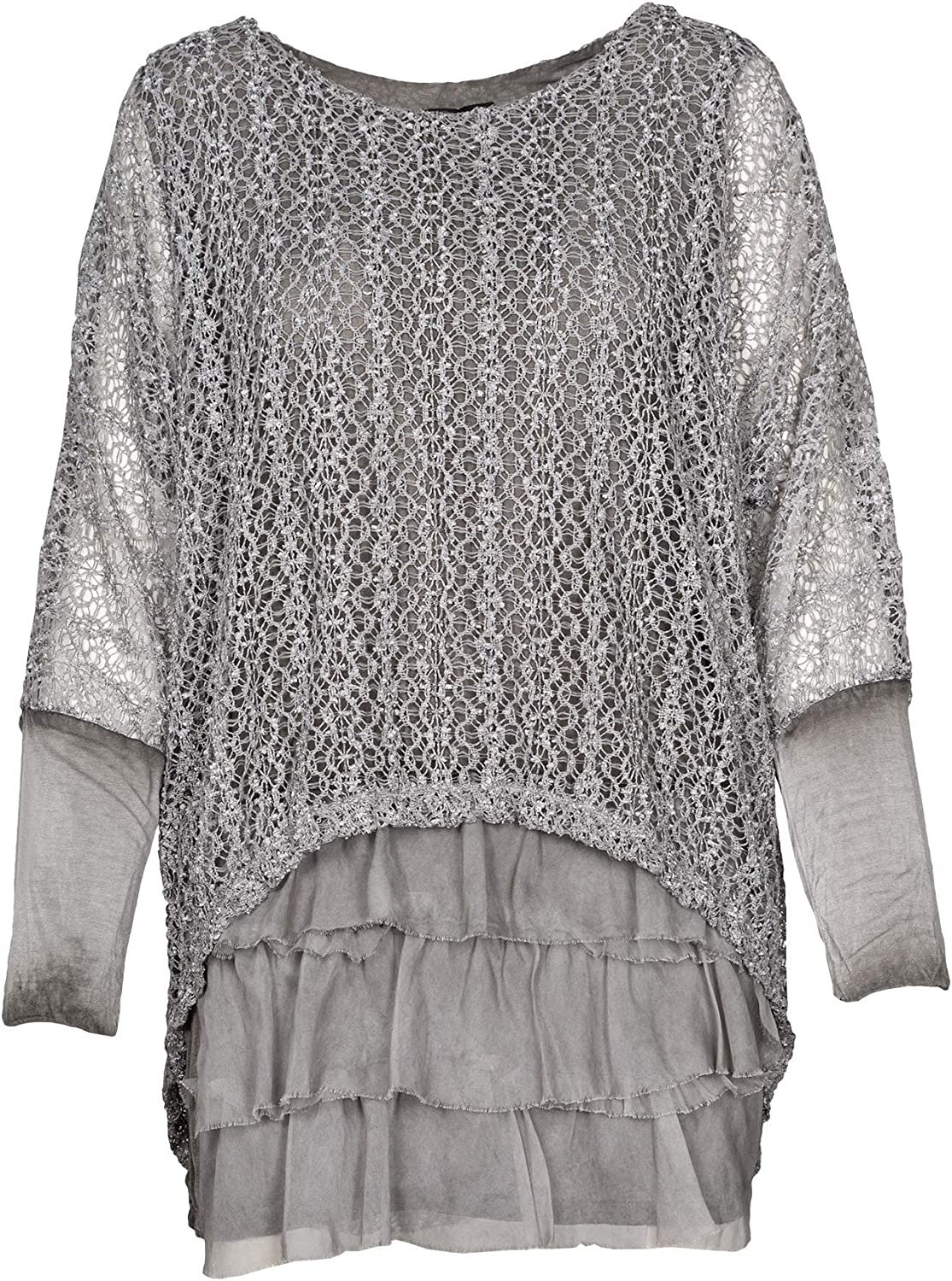 M Made in Italy Women's Long Sleeves Tunic with Sequins