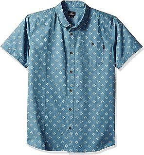 O'Neill Men's Standard Fit Short Sleeve Woven Button Down Mini Print Shirt