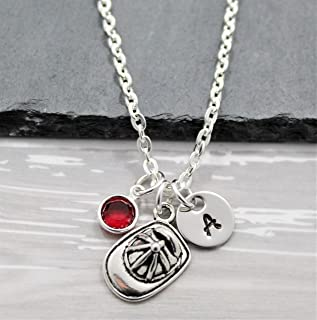 Firefighter Girlfriend, Wife or Daughter Necklace - Personalized Birthstone & Initial - Firefighter Jewelry for Women