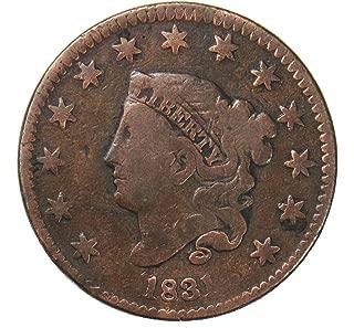 1831 Coronet Head Large Cent 1¢ VG+