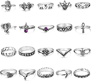 20 Pcs Vintage Knuckle Rings for Women Girls Stackable Midi Finger Ring Set
