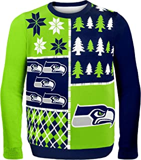 Seattle Seahawks Busy Block Ugly Sweater Large