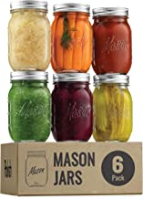 Regular-Mouth Glass Mason Jars, 16-Ounce (6-Pack) Glass Canning Jars with Silver Metal Airtight Lids and Bands with Measurement Marks, for Canning, Preserving, Meal Prep, Overnight Oats, Jam, Jelly,