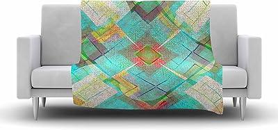 Kess InHouse Cvetelina Todorova Day Multicolor Geometric Fleece Throw Blanket 60 X 50 60 by 50-Inch