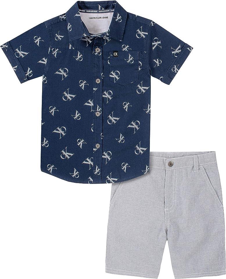 Calvin Klein Boys' 2 Pieces Shirt Shorts Set