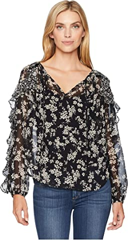 Print Contrast Ruffle Top
