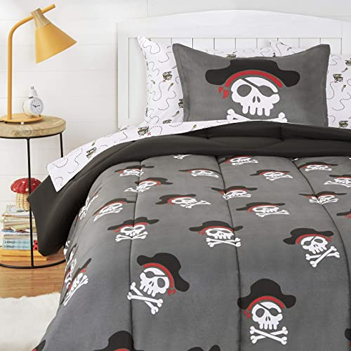 AmazonBasics Kids Easy-Wash Microfiber Bed-in-a-Bag Bedding Set - Twin, Pirate Cove