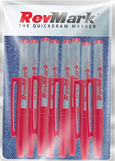 RevMark Industrial Marker - Red Permanent Ink - Standard Tip - 8 Pack (Made in the USA) (Red)