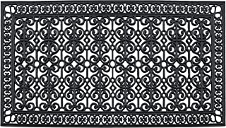 """A1 HOME COLLECTIONS A1HCCL68 Doormat A1HC First Impression Rubber Paisley, Beautifully Hand Finished,Thick, 36"""" X 72"""", Black Estate"""