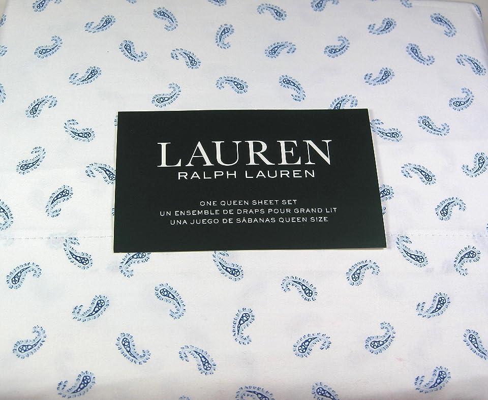 バンド弾力性のある製作Lauren 4?pc。Queenペイズリープリントシートセットブルーとホワイト100?%コットン
