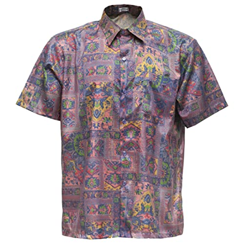 86299335349e7a Tashisun Men s Shirt Short Sleeve Thai Silk Bird Pink (XL)