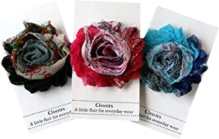 Shabby Chic Flower Hair Clips, Set of Three, Over 20 Colors: Peacock: Black, Hot Pink & Turquoise Blue Peacock