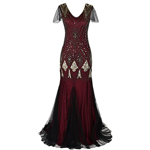 19eed392628 PrettyGuide Women Evening Dress 1920s Flapper Cocktail Mermaid Plus Size  Formal Gown