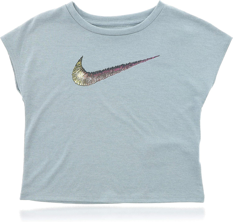 Nike Girls Swoosh Premium T-Shirt (Size 4T) Grey