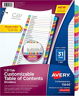 Avery 31-Tab Binder Dividers, Customizable Table of Contents, Contemporary Multicolor Tabs, 1 Set (11846)