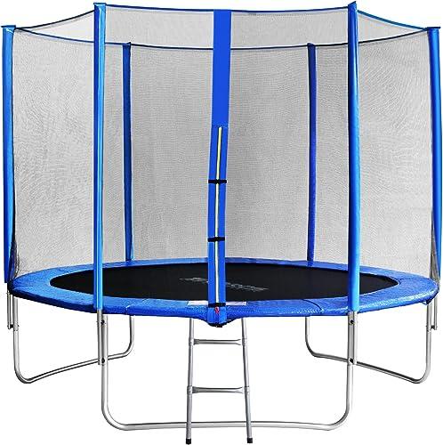 SixBros. Sixjump 3,05 M Trampoline de Jardin Bleu - Filet de sécurité - échelle - Housse de Prougeection TB305 1693