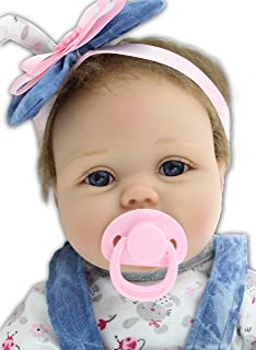 iCradle Real Life 22inch 55cm Reborn Baby Dolls Toddler Soft Silicone Vinyl Babies Newborn Girl Doll Toy for Ages 3+ (A)
