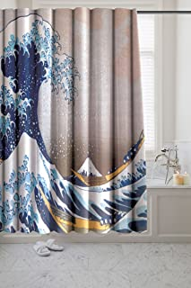 The Great Wave Novelty Fabric Shower Curtain – Museum Collection by artist Katsushika Hokusai