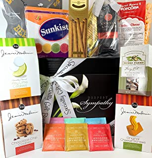 Premium Sympathy Gift Box Basket - For Bereavement Grief Thinking of You - Nuts Coffee Tea Cookies Candies Popcorn and More - Elegant Flowers Design - Send Your Condolences Care Package Today