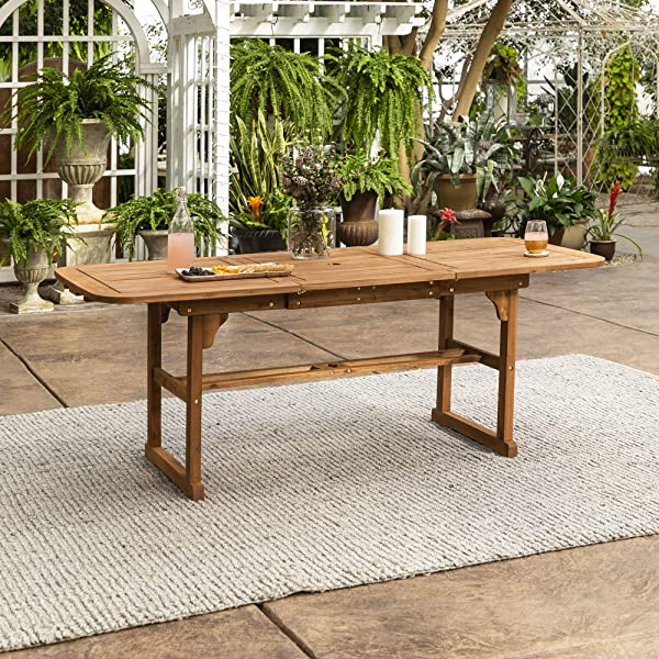 沃克爱迪生家具公司实心金合欢木露台可扩展餐桌棕色