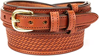 Men's English Bridle Basketweave Ranger Belt