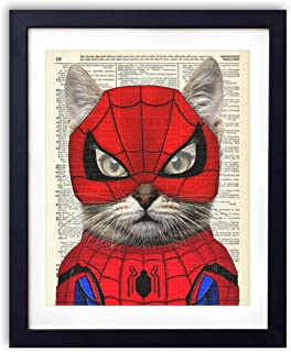 Spider Cat, Superhero Kids Bedroom Wall Decor, Vintage Wall Art Upcycled Dictionary Art Print Poster For Kids Room Decor 8x10 inches, Unframed