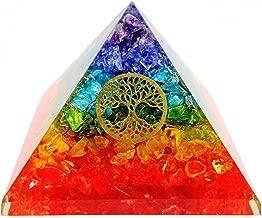 7 Chakra Crystal Tree of Life Orgone Pyramid Kit / Includes 4 Crystal Quartz Energy Points / EMF Protection Meditation Yoga Energy Generator ...