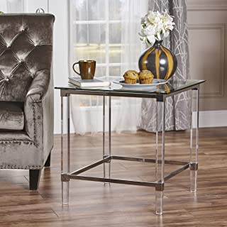 Christopher Knight Home 302234 Orson Acrylic and Tempered Glass Square Side Table, Clear